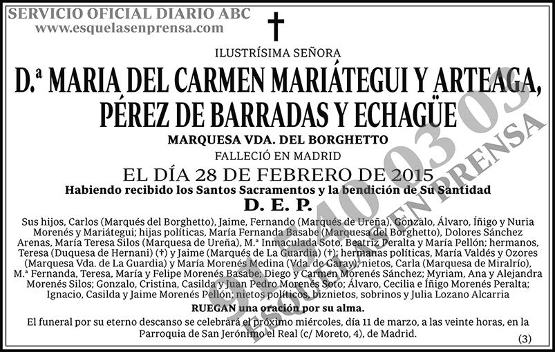 María del Carmen Mariátegui y Arteaga Pérez de Barradas y Echagüe